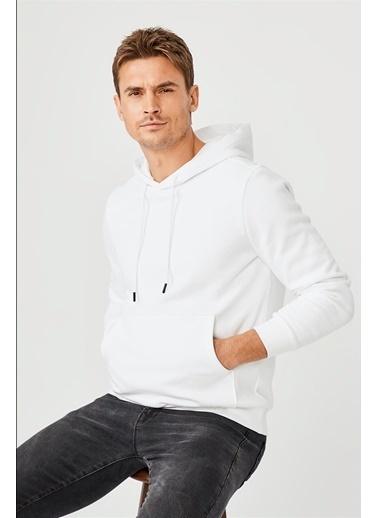 Avva Erkek  Kapüşonlu Yaka Düz  Sweatshirt E001006.05 Beyaz